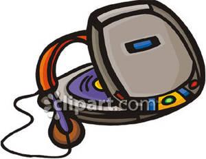 Portable player and headphones. Cd clipart cartoon