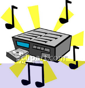 Player and music notes. Cd clipart cartoon