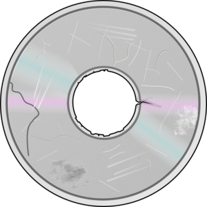 Severely damaged compact disc. Cd clipart cd dvd