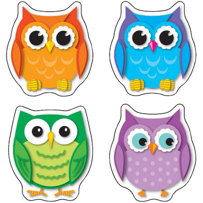 Cd clipart colorful. Owls shape stickers panda