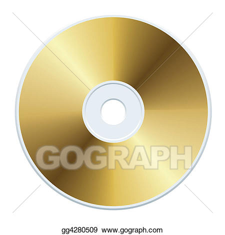 Cd clipart gold. Stock illustration gg gograph