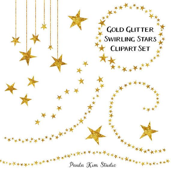 Star glitter clip art. Cd clipart gold