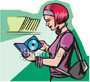 Cd clipart music cd. Woman shopping for s
