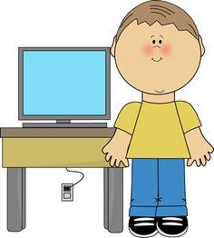 Kids using a school. Boys clipart computer