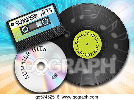 Cd clipart vintage record. Stock illustration summer music