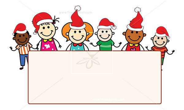Celebrate clipart banner. Kids celebrating xmas with