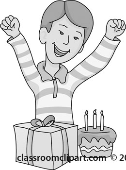 Boy celebrating gray classroom. Celebrate clipart birthday cake