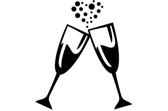 Glasses celebration party heart. Celebrate clipart champagne