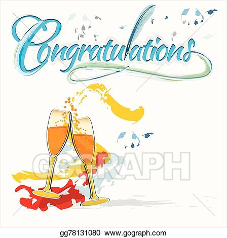 Vector illustration congratulations with. Celebrate clipart champagne