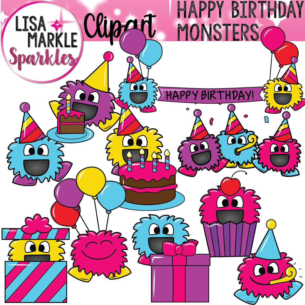 Happy birthday monsters banners. Celebrate clipart classroom