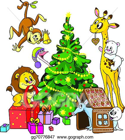 Celebrate clipart cute. Vector art animals christmas