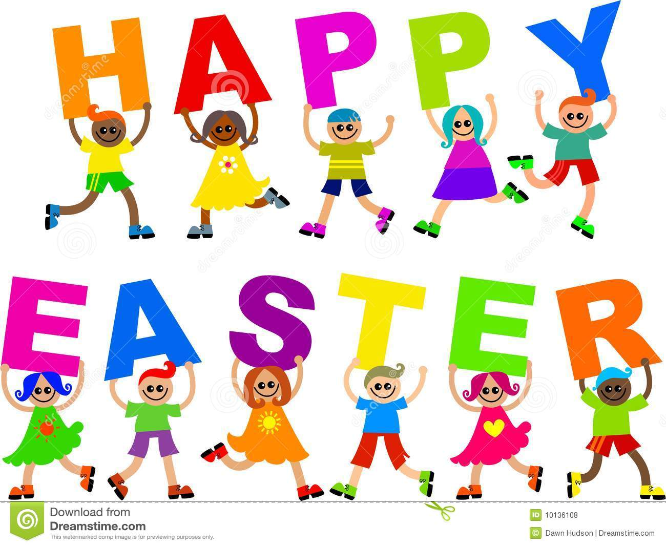 Kids with happy text. Celebrate clipart easter