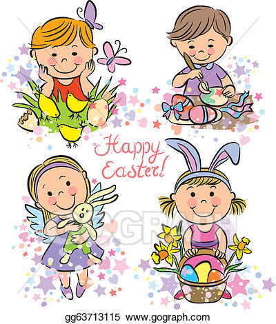 Celebrate clipart easter. Vector stock illustration kids