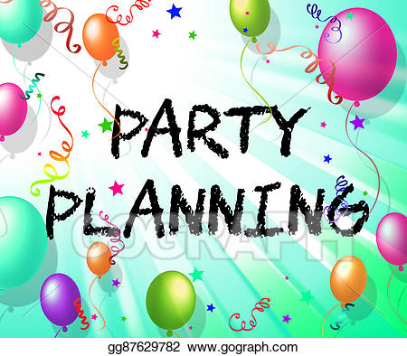 Planner clipart party planning. Indicates balloon organise and