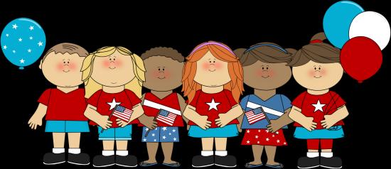 Patriotic kids clip art. Celebrate clipart flag