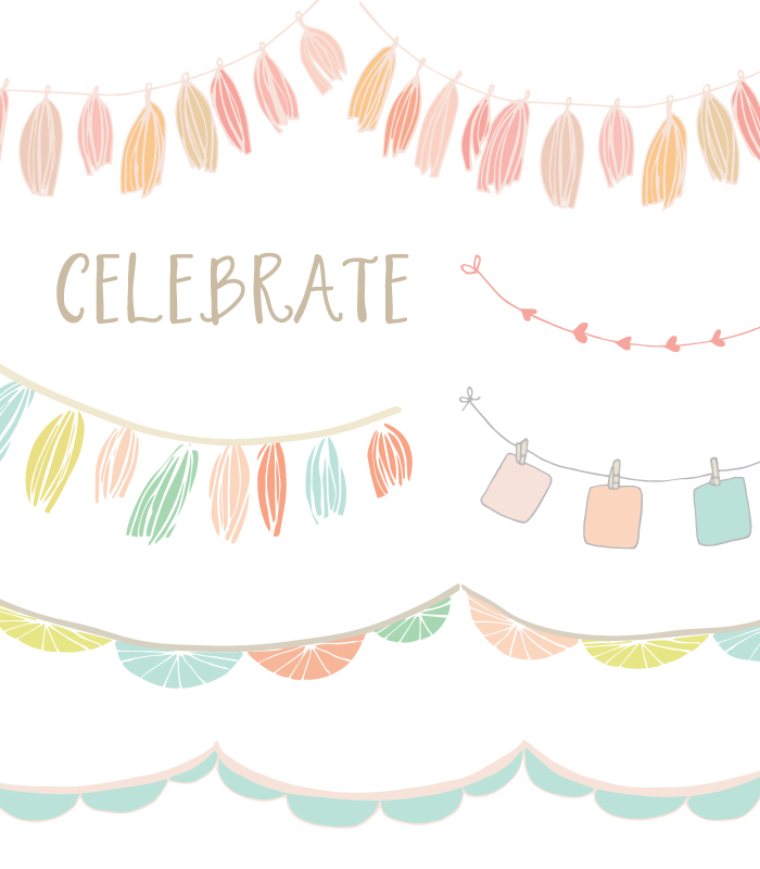 Celebrate clipart flag. This hand drawn garland