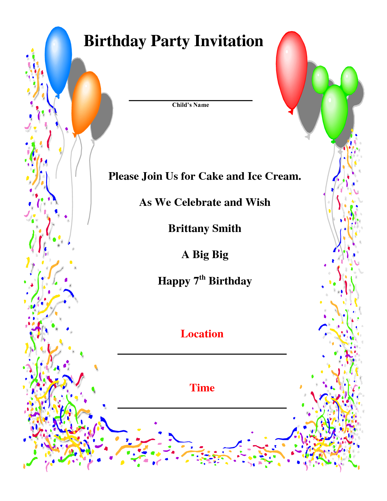 Celebrate clipart invitation. Birthday cards for party