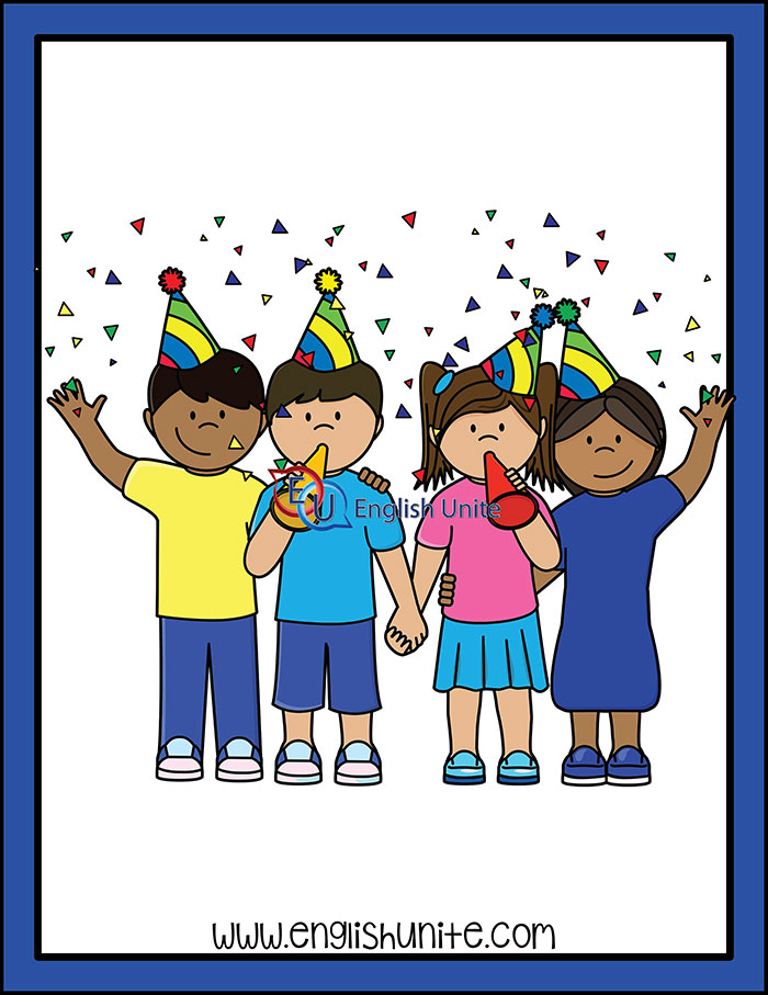 Celebrate clipart line. Verb tense present english