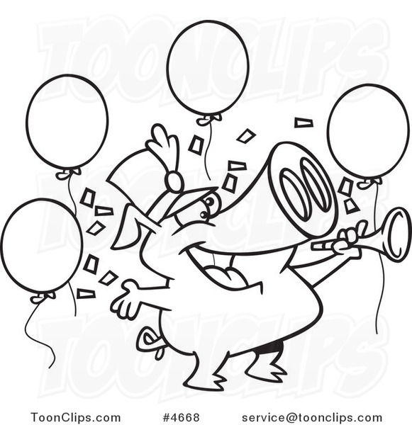 Cartoon black and white. Celebrate clipart line