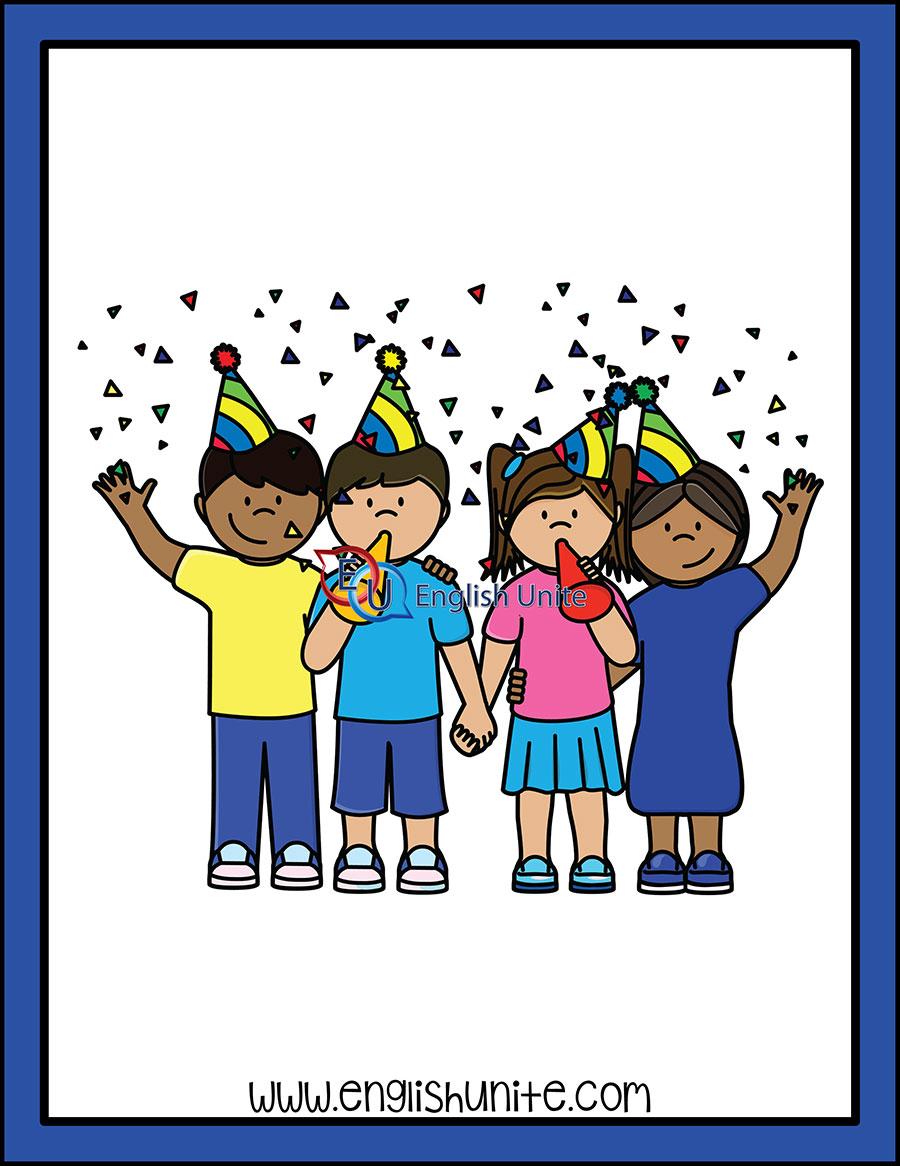 Celebrate clipart line. Verb tense present