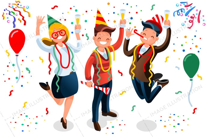 Celebrate clipart party. New year bash people