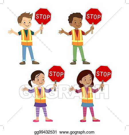 Vector illustration multicultural children. Celebrate clipart safety