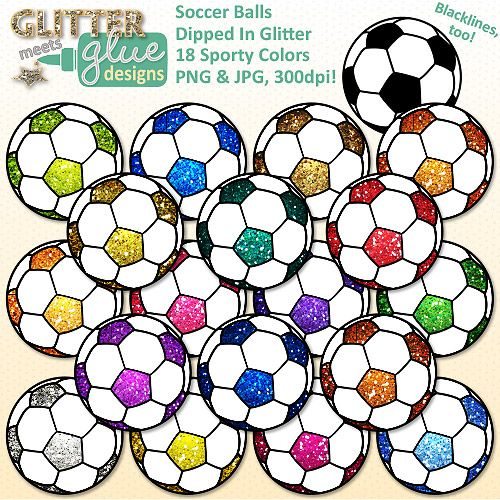 Celebrate clipart soccer. Balls dipped in glitter