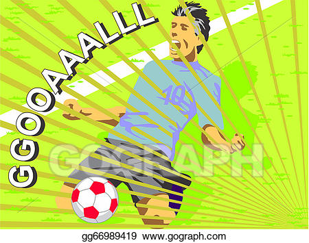 Celebrate clipart soccer. Vector stock player celebrating
