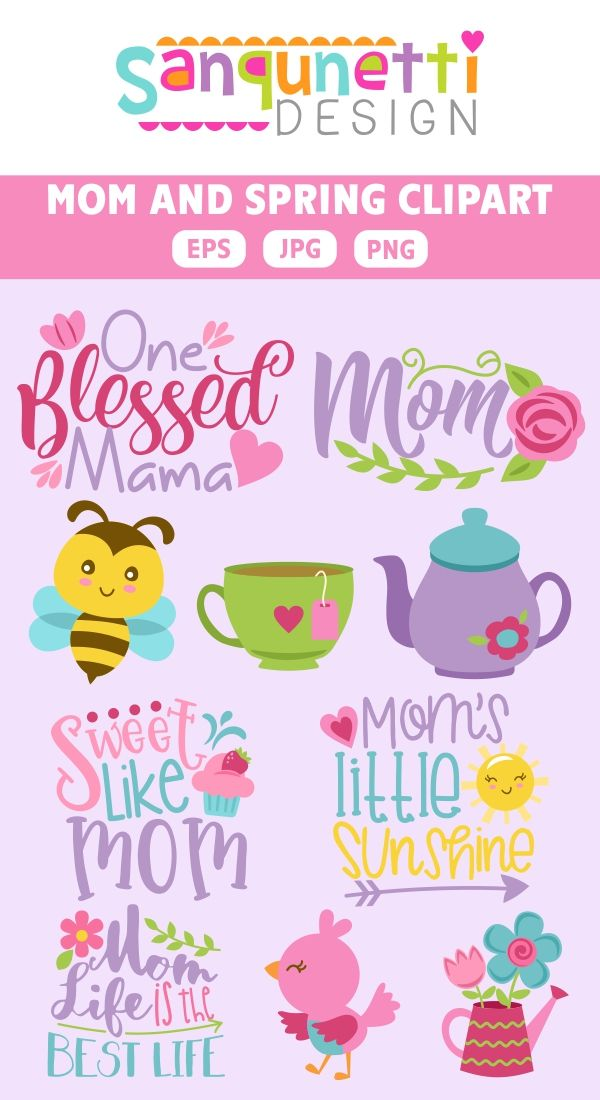 Celebrate clipart spring. Mom and lettering to