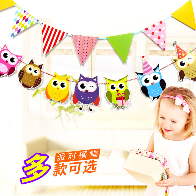 Celebrate clipart streamer. Owl flags child birthday