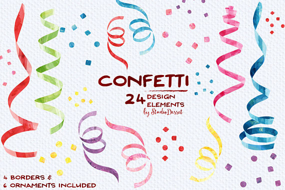 Confetti cliparts watercolor streamers. Celebrate clipart streamer