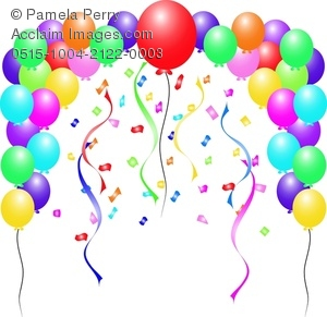 Celebrate clipart streamer. Clip art illustration of