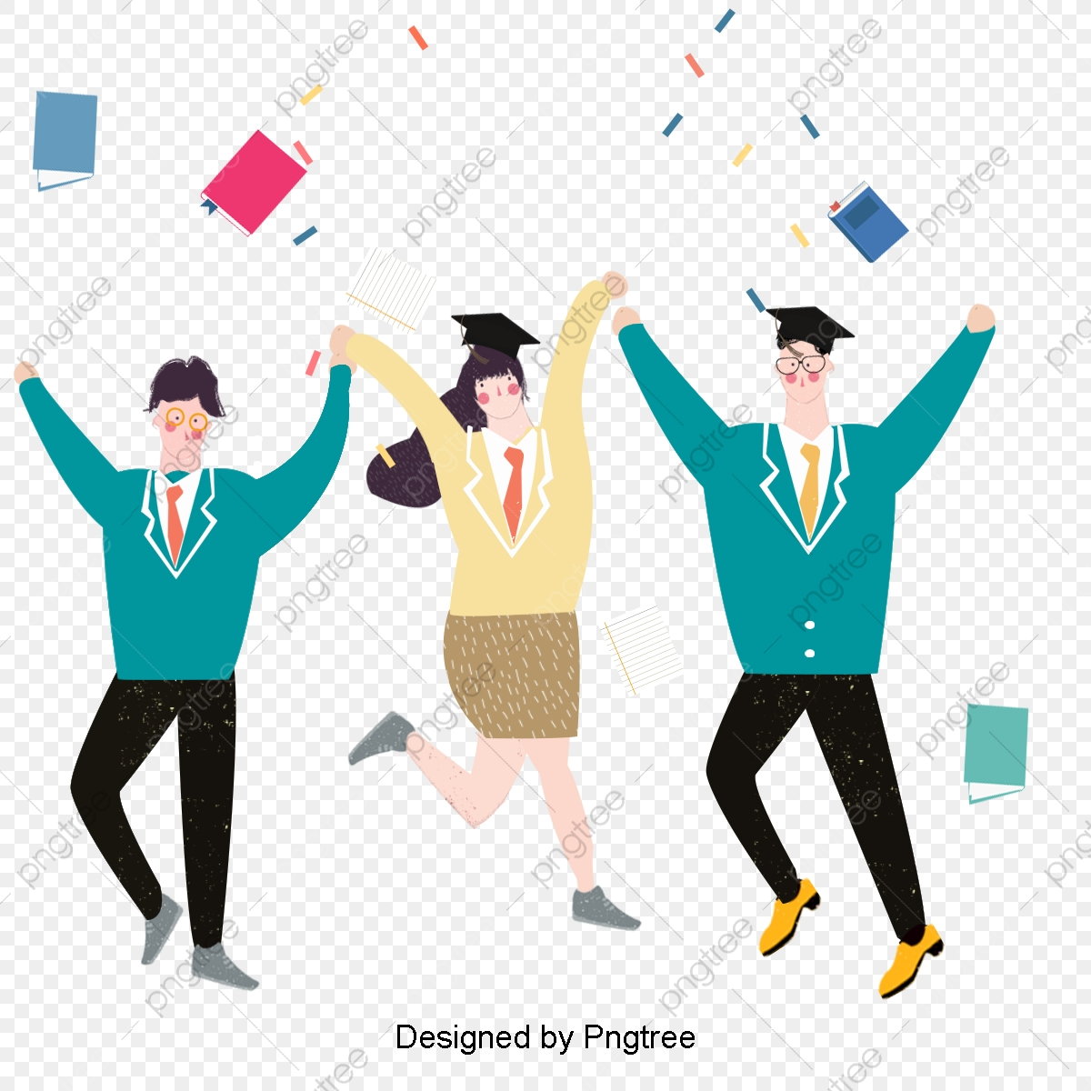 Celebrate clipart student. Three cartoon students graduation