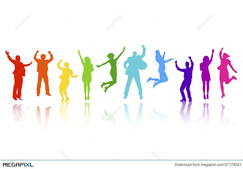 Business people celebrating illustration. Celebrate clipart vector