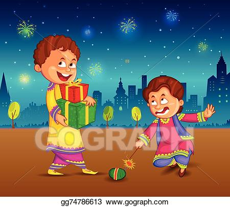 Celebrate clipart vector. Stock kids enjoying firecracker
