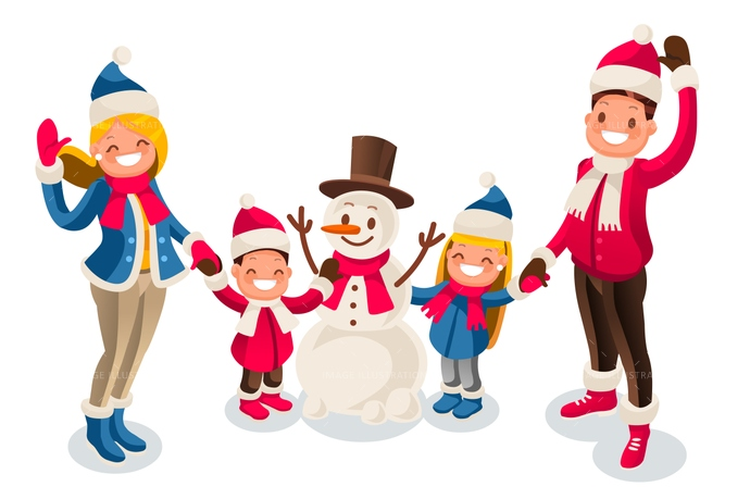 Character clipart family. Winter fun isometric people