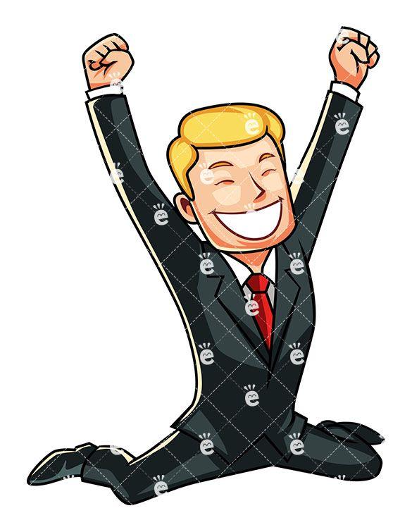 A businessman feeling victorious. Celebration clipart achievement