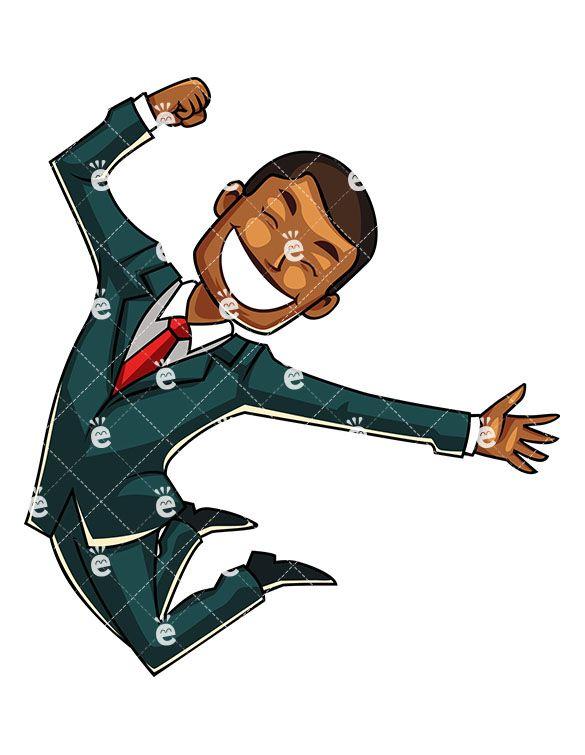 A joyous black businessman. Jump clipart elated