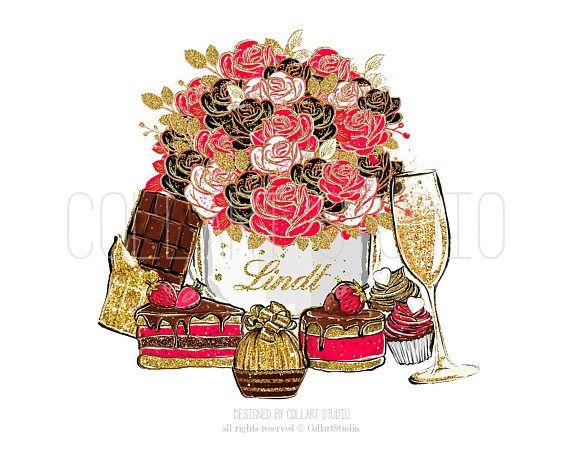 Chocolate strawberry illustration sweets. Celebration clipart artwork