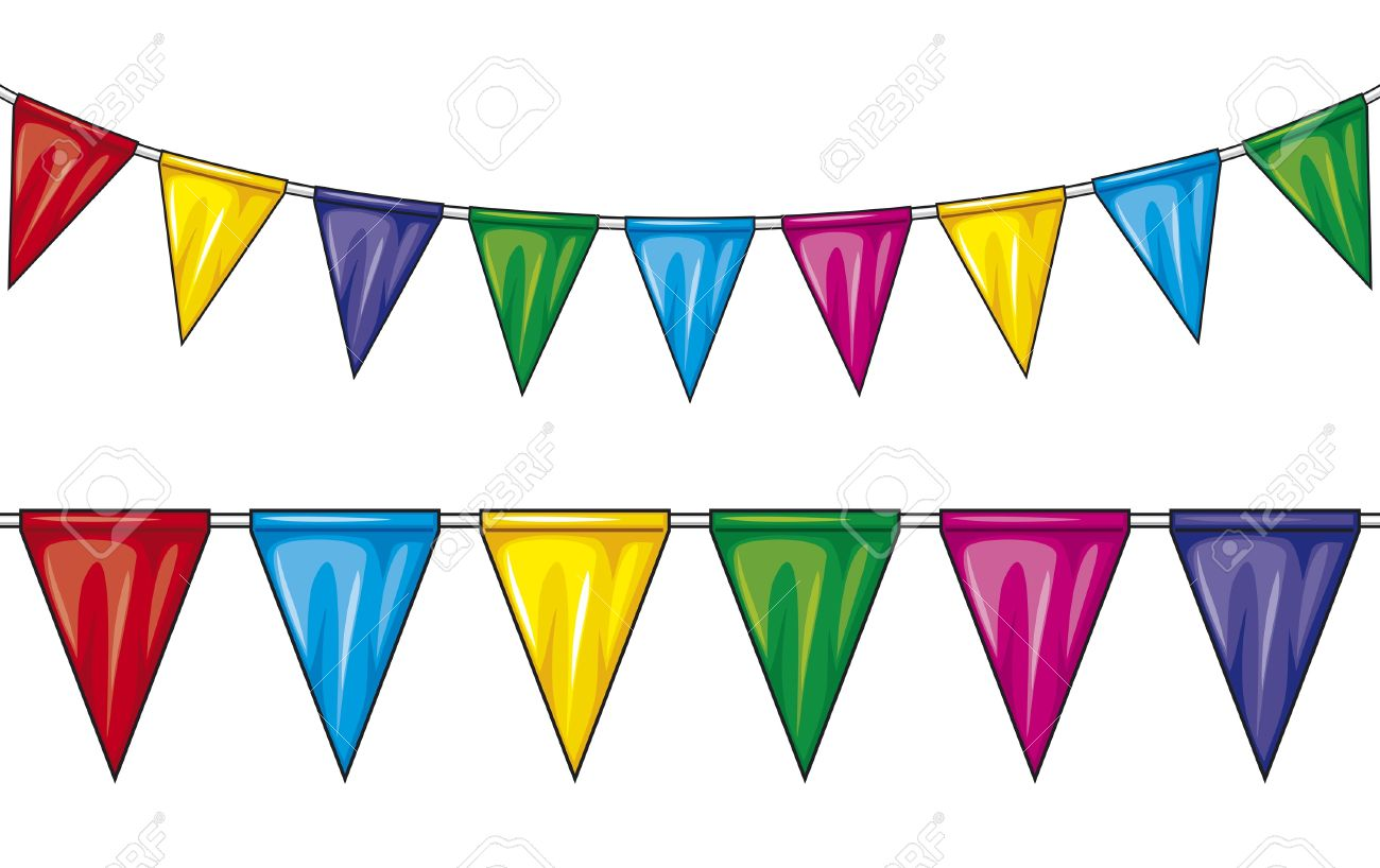 Flags and pennants clipground. Celebration clipart banner