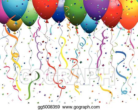 Eps illustration balloons and. Celebration clipart confetti