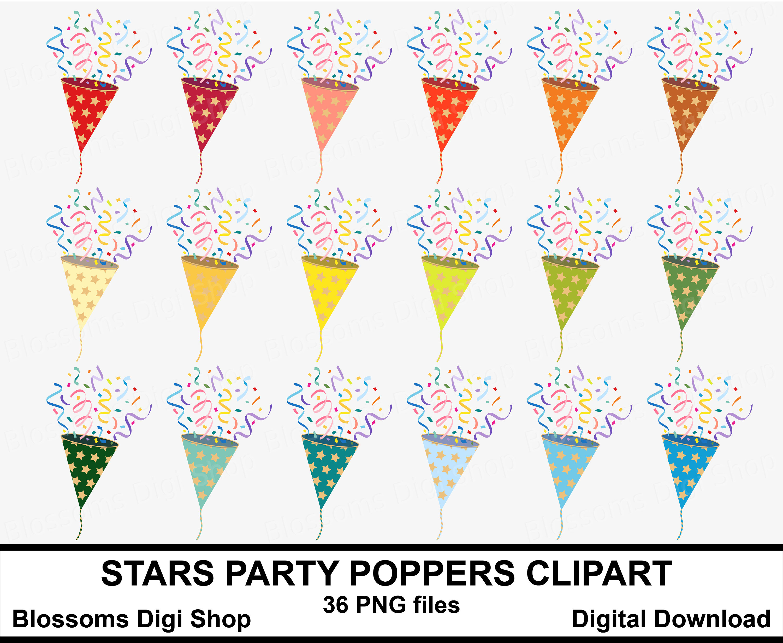 Stars party popper rainbow. Celebration clipart confetti