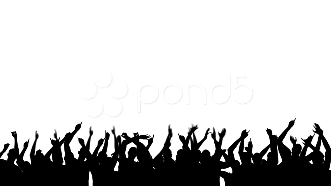 Party people silhouette panda. Applause clipart concert