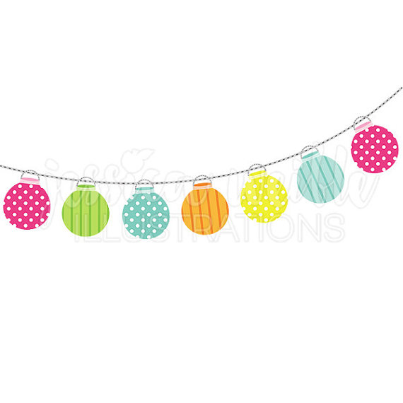 String of party lanterns. Celebration clipart cute