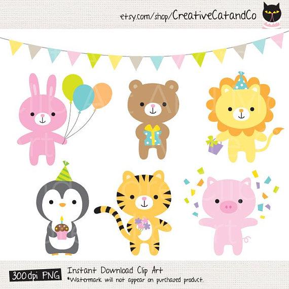 Birthday animal party . Celebration clipart cute
