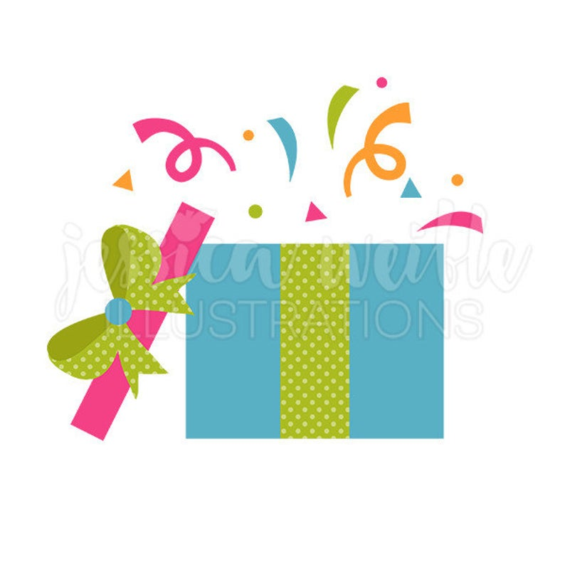 Celebration clipart cute. Party box digital clip