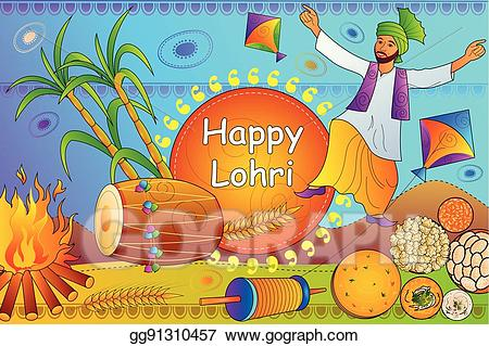 Vector art happy lohri. Celebration clipart festival