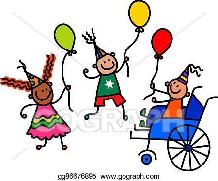 Celebration clipart fun. Stock illustration disabled birthday