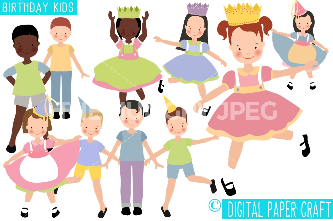 Celebration clipart group. Birthday children party kids