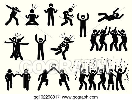Vector illustration poses and. Celebration clipart group